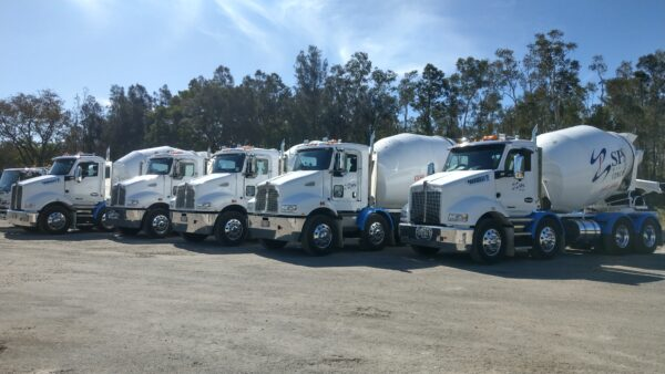 SPS Concrete trucks lined up outside